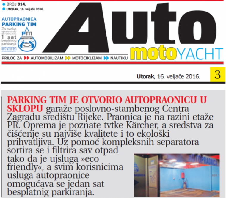 Novi List: 'Nova Autopraonica Parking Tim-a...'